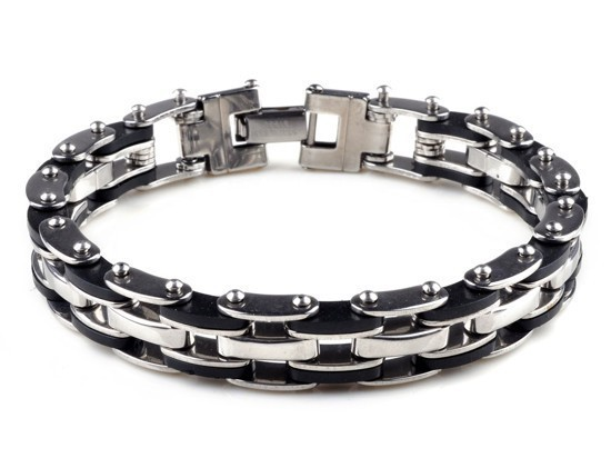 New-Men-s-High-Quality-Stainless-Steel-Bracelet-Silver-Link-Black-Rubber-Bangle (5)