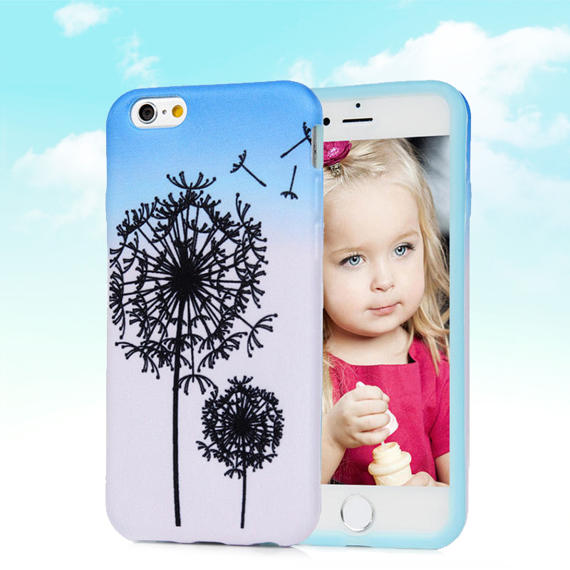 Dandelion Pattern Soft Silicon Case For iPhone 6 / 6S 4.7'' Fabric Back Skin Cover Cell Phone Protect ShockProof Bag(China (Mainland))