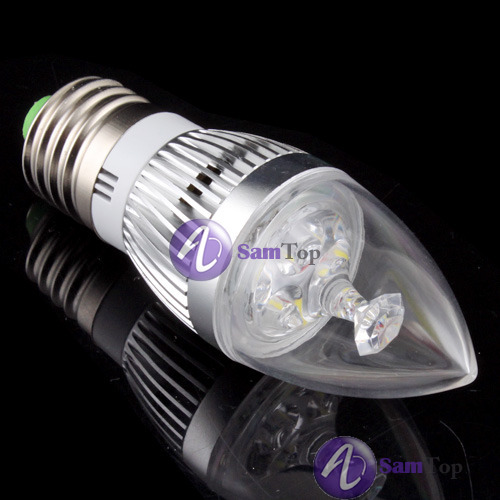 Bestmart Unique E27 Pure White 3 Led 3w Energy Saving Candle Light Bulb Lamp Light 85v 265v 7