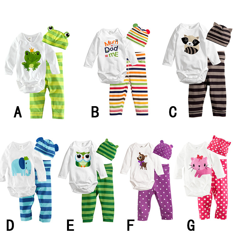 Warmly Baby Bodysuits Bebes body baby jumpsuit long sleeve + striped pants + hat 3pcs set cotton newborn clothes infant clothing<br><br>Aliexpress