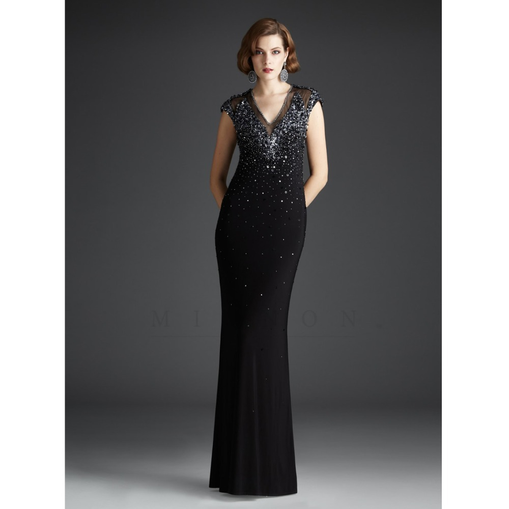 E525 Sheer Straight Chiffon Prom Gown With Cap Sleeve Long