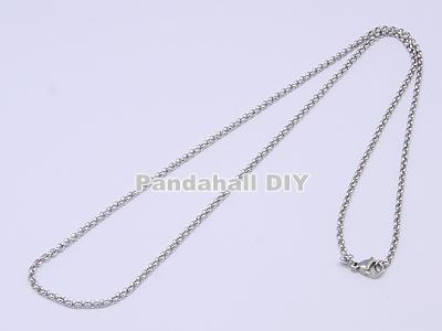 """10stands 304 Stainless Steel Rolo Chain Necklaces Stainless Steel Color, 19""""; 3mm(China (Mainland))"""