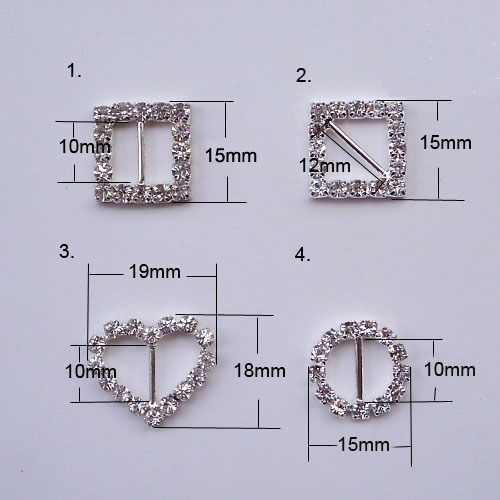 No moq limited (S0307) use for invitation card or gift box ribbon slider, crystal buckle  embellishment ,rhinestone buckle