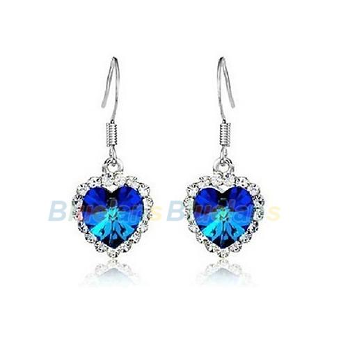 1 Pair Hot  Heart of Ocean Crystal Hook Womens Earrings Dangle Earrings Ear Stud 3 Colors 01Z9<br><br>Aliexpress