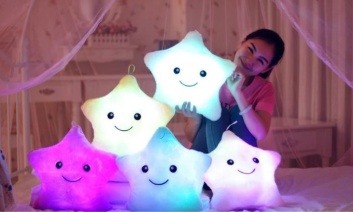 Luminous pillow Christmas Toys, Led Light Pillow,plush Pillow, Hot Colorful Stars,kids Toys, Free Shipping, Birthday Gift(China (Mainland))