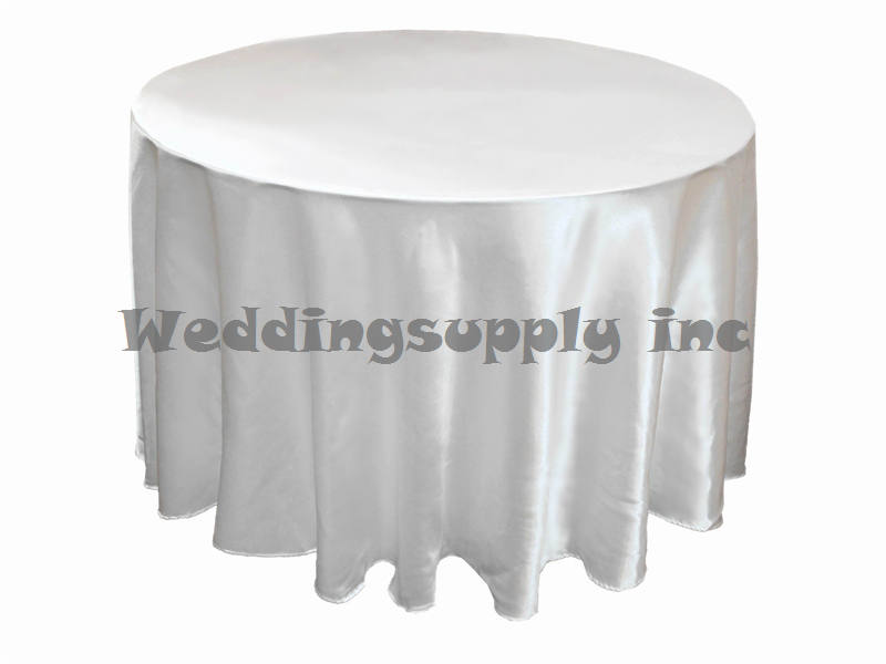 20 pcs Cheap Premium 108''(275cm) Round White Satin Table cloths for Sales Cheap Tablecloths for wedding free shipping Bulk Sale(China (Mainland))