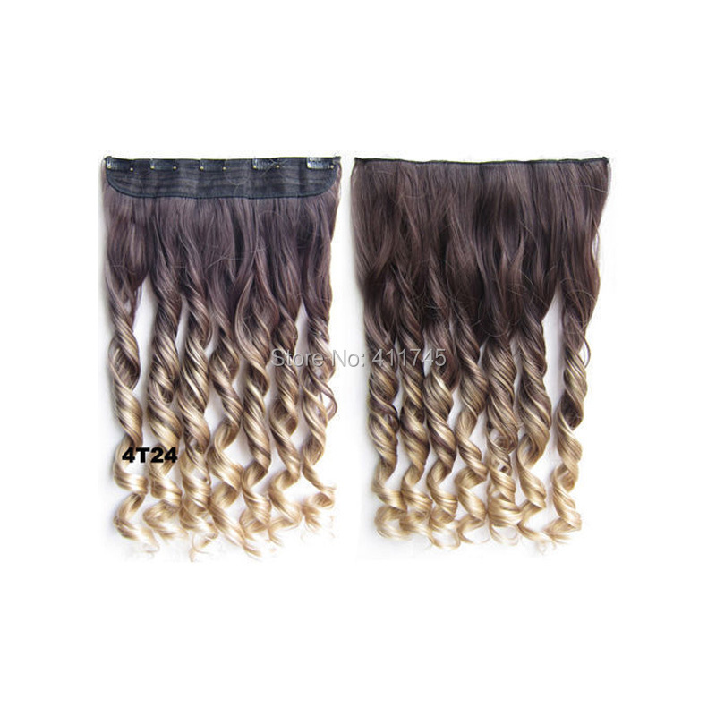 1pcs Clip in Ombre Hair extensions 5Clips OmbreTwo tone color Synthetic Hair Dip dye hair 120g 60CM<br><br>Aliexpress