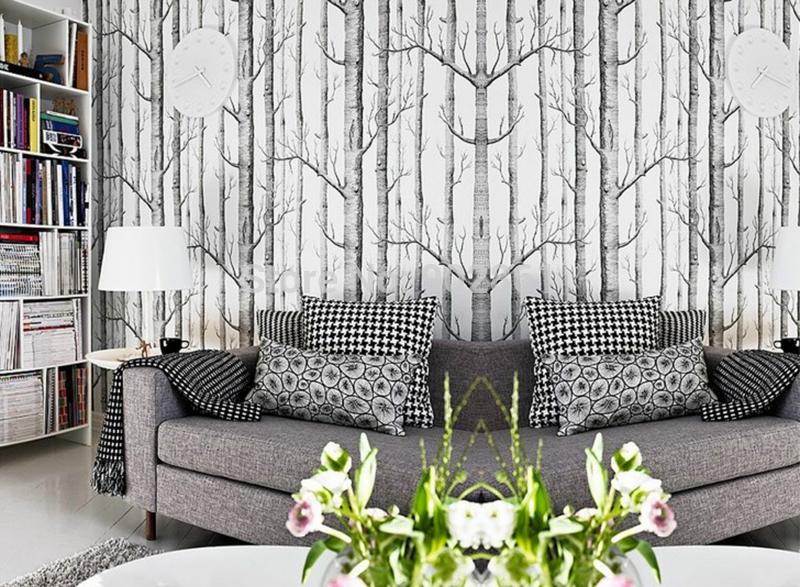 funlife 53 cm 10 m vinyle arbres branches motif pastorale rouleau de papier peint abstraite en. Black Bedroom Furniture Sets. Home Design Ideas