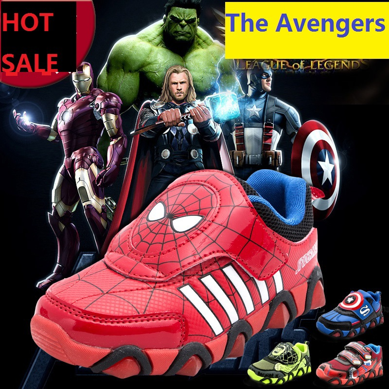 Children's Shoe 2015 New Spiderman Flasher Fashion Sports Sneakers For Kids Boy Sport Brand Sneaker Breathable Trainer Ked Shoes(China (Mainland))