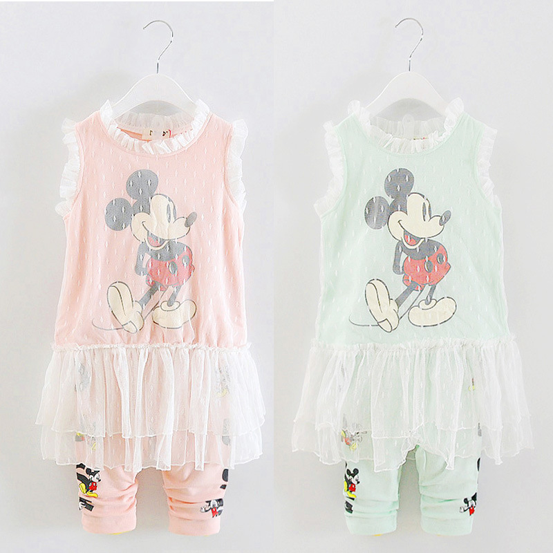 Kids Clothes Summer Minnie Mickey Girls Clothes Dress+Leggings 2016 Toddler Girl Clothing Children Set Roupa Fashion Outfits 1-4(China (Mainland))