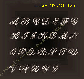 free shipping ALPHABET 26 letter rhinestones hotfix motif heat transfer iron on patch garment accessory(China (Mainland))