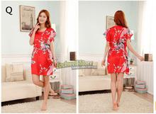 Short Sleeve Floral Sexy Plus Size Women Silk Robe Lady Girl Silk Pajamas Housecoat Nightgowns Loungewear Sleepwear(China (Mainland))