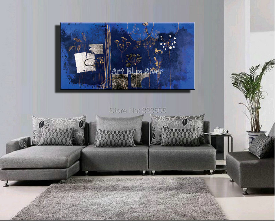large abstract dark blue flower acrylic wall art canvas handmade oil painting on canvas bedroom. Black Bedroom Furniture Sets. Home Design Ideas