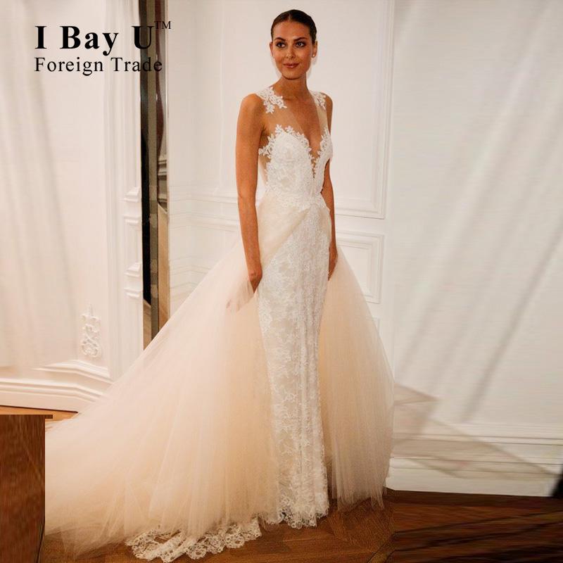 Popular mermaid wedding dress detachable skirt buy cheap for Cheap wedding dresses bay area