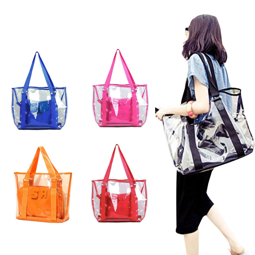 2015 Jelly Candy Clear Transparent Handbag Tote Shoulder Bags Beach Bag(China (Mainland))
