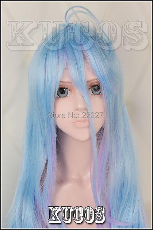 FREE SHIPPING Anime No game No life Sister White Mixed Blue Pink Gradient Full Lace Cosplay Wig Costume Heat Resistant + Cap