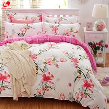 Birds & Blooms bedding set 2017 flower bed linens 4pcs/set 5 size duvet cover set Pastoral bed set kids / Adult bedding bedcloth(China (Mainland))