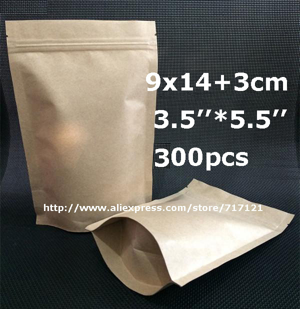300pcs 9*14+3cm kraft zipper bag for food storage in aluminum foil 2015 hot sell high quality paper zip lock bags free shipping(China (Mainland))