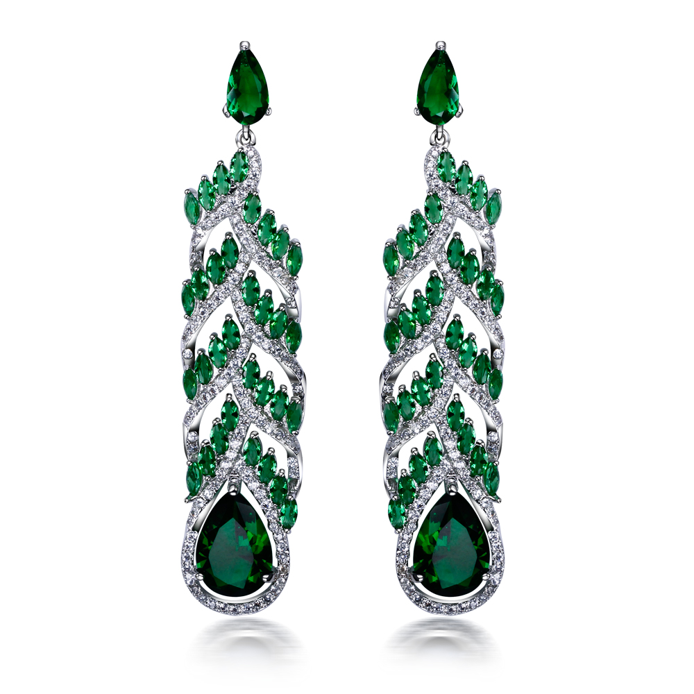 Green dangling earrings for party large teardrop shape earrings pave setting with AAAAA champagne cubic zirconia earrings(China (Mainland))