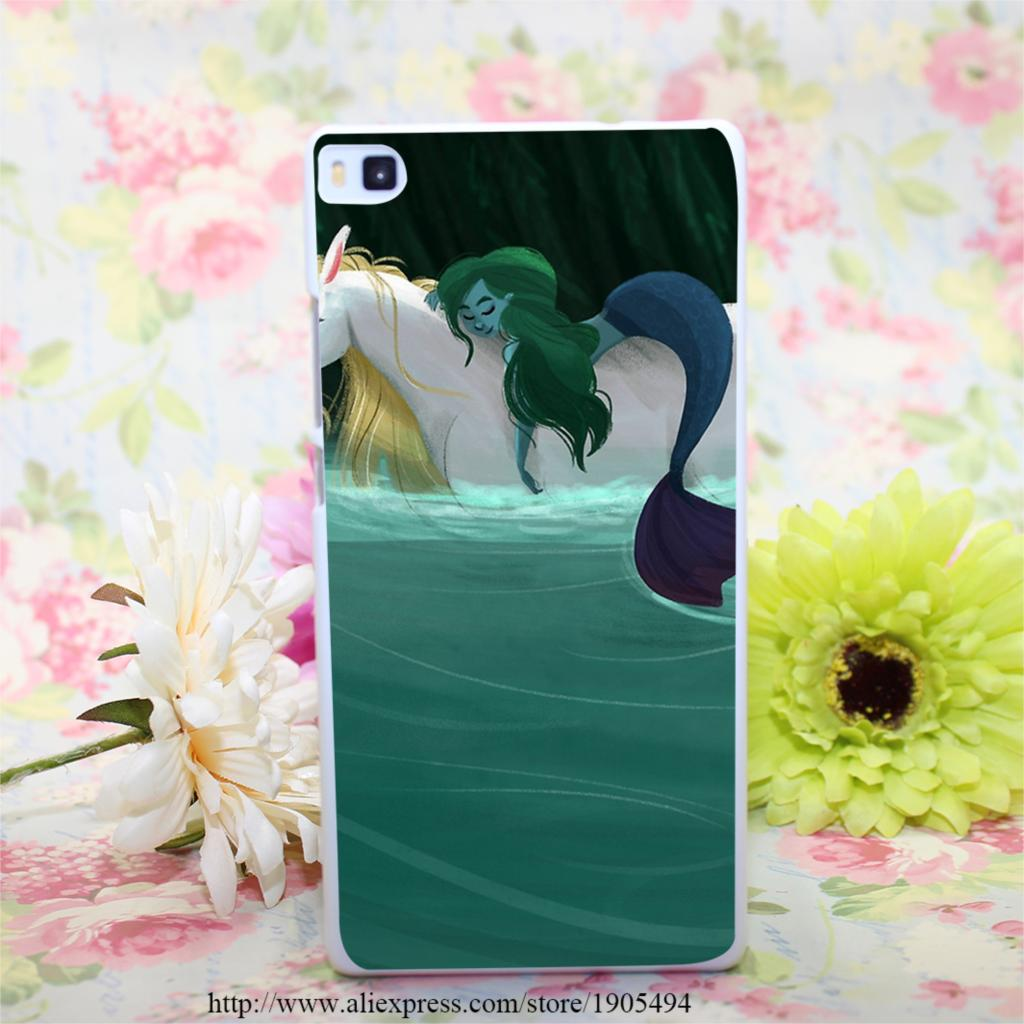 1484HQA The Mermaid and the Unicorn Hard White Painted Case Cover for Huawei Ascend P6 P7 P8 P8 Lite Colorful Protective Case(China (Mainland))