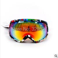 2015 New style Free shipping Ski goggles Ski glasses Large field double-layer anti-fog UV ski goggles Eyewear Lens  REVO coating
