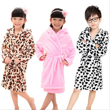 girls boys soft flannel hoodies mid-long robes 2016 new cartoon thicker children nightgown bathrobe homewear clothing