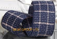 Dark blue check cotton ribbon hemp ribbon Plaid ribbon for hair accessory fascinator dress headband hat  bag decoration belt(China (Mainland))