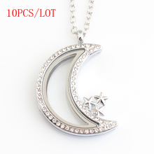 10PCS/LOT,New arrive High polished magnetic floating locket charms,The moon and stars lockets with stones FN0041(China (Mainland))