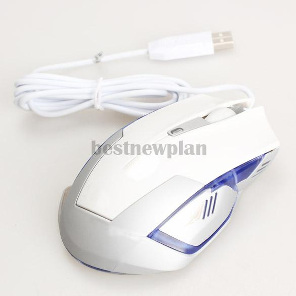 1600DPI USB Ergonomic Wired Optical Pro Game Gaming Wired Mouse White(China (Mainland))