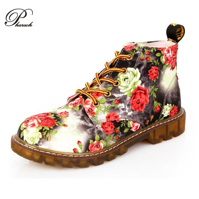 Мода ретро печать осень лодыжки для женщин плоский каблук хлопок обувь женщина платформа мартин загрузки