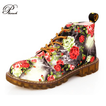 Fashion Retro Printing Autumn ankle boots for women flat heel Cotton shoes woman platform Martin boot(China (Mainland))