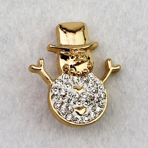 Christmas gift 18mm Christmas Custom Gold Plated Rhinestone Snowman Shape Metal Snap Button Charms Ginger Snap Jewelry(China (Mainland))