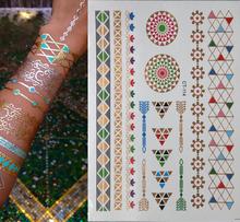 2015 New female tatuagem temporaria golden flash Tattoo Art Sex Product Flash Taty Metalic Silver Gold Tattoos Body Art(China (Mainland))