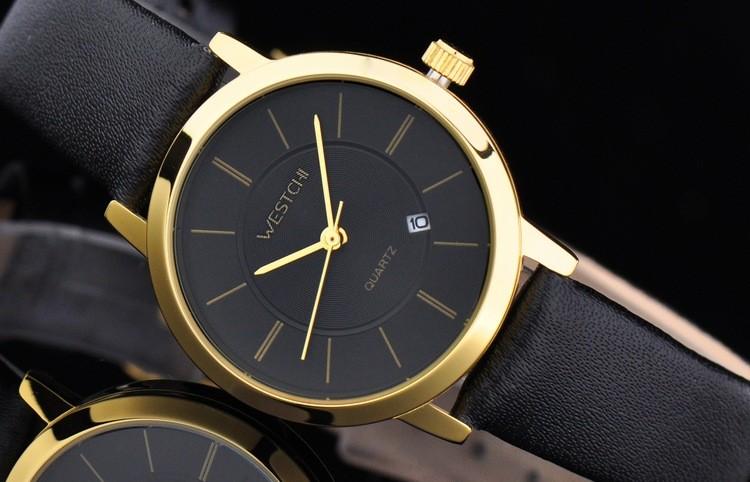 2016 WHESTCHI часы женщин qulity мужские кварцевые часы кожа мода платье бизнес водонепроницаемый женщин watchwhes