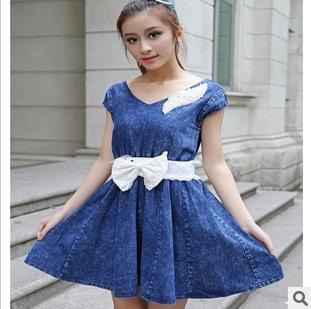 New !! 2013 Summer Women's Mini Dress V-Neck blue jeans short-sleeved free size free shipping