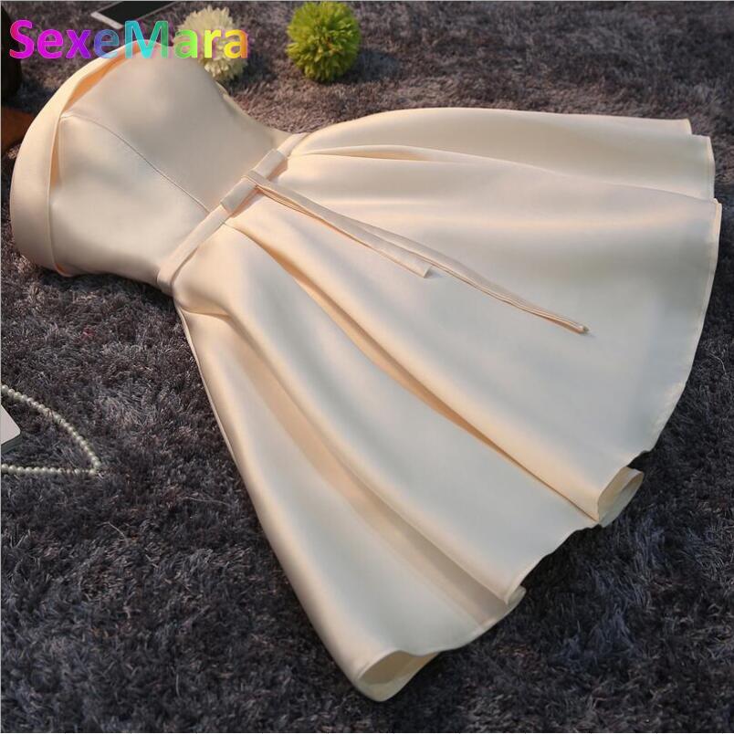 Champagne Short Evening Dress 2016 Women Elegant Satin Party Ball Gown Sexy Bride Banquet Dress Custom Formal Robe De Soiree(China (Mainland))