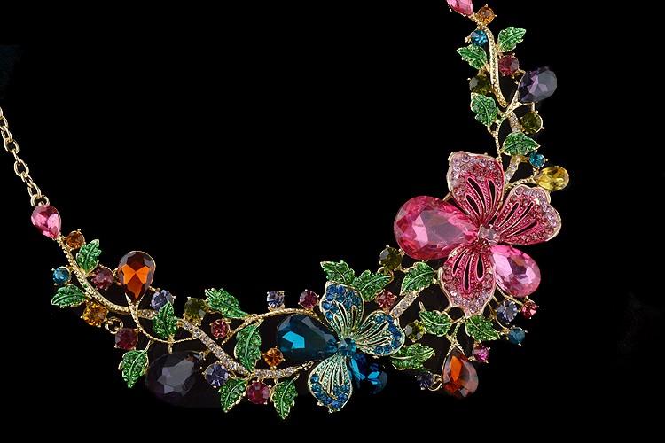Комплекты Ювелирных Изделий Rhinestone Свадебные Растений цветок clolrful Ожерелье наборы свадьбу серьги Верхнего качества Ювелирных Изделий Способа
