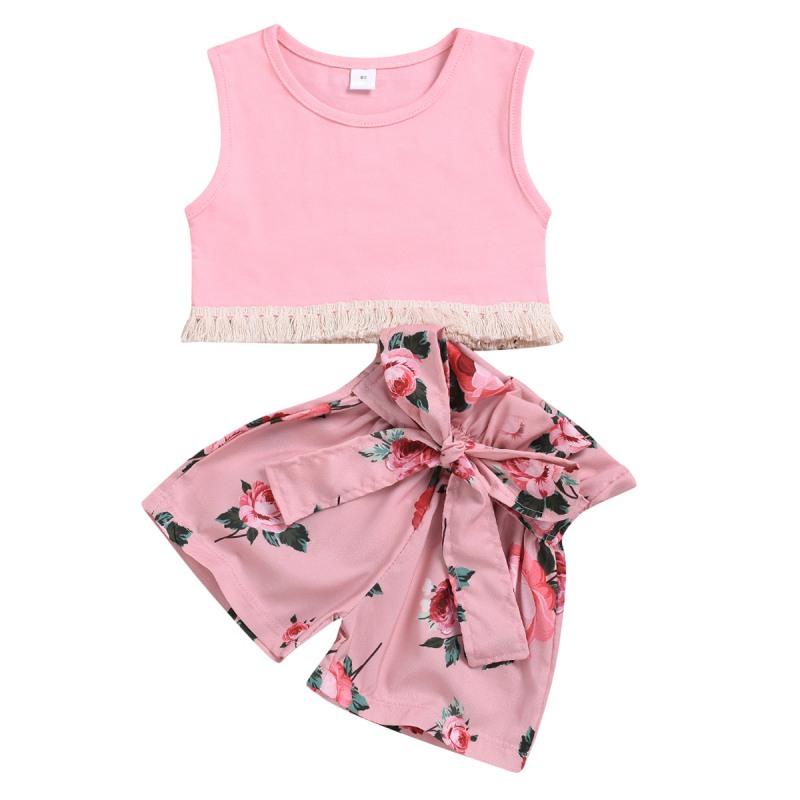 Одежда для маленьких девочек летний однотонный розовый жилет шорты с принтом CG0431P (1)