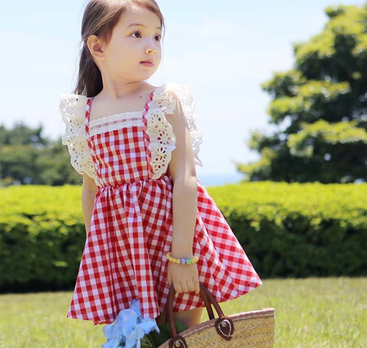 2015 Summer new arrival girls fly sleeve plaid dress princess dress plaid dress elastic lace kid's cltohes kid's dress, blue/red(China (Mainland))
