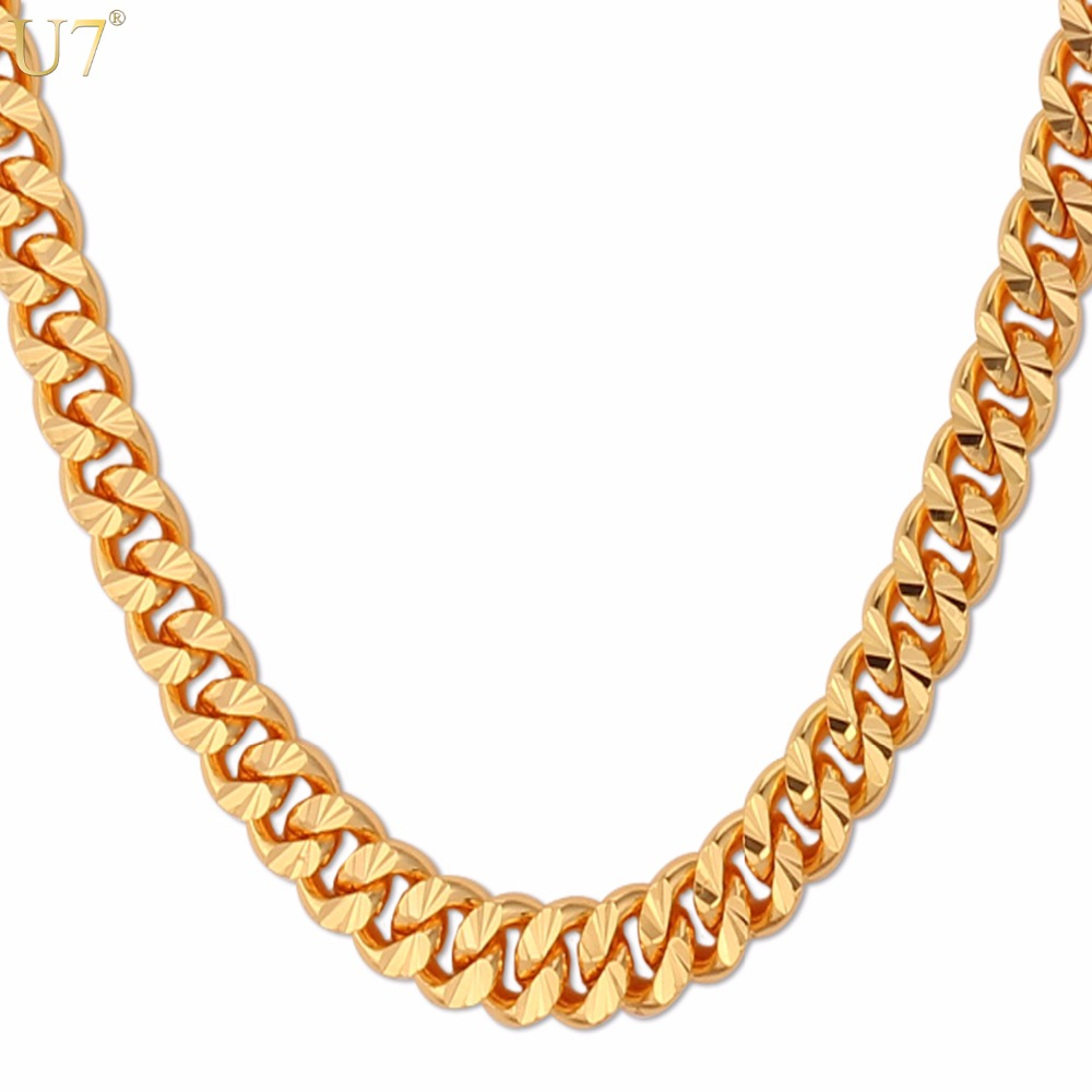 U7 Brand Necklace Long/Choker Silver/Rose Gold/Black/Gold Color Cuban Link Chain For Men Hip Hop Jewelry Wholesale N383(China (Mainland))