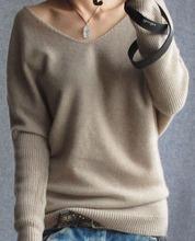 Women wool sweater fashion winter thick bat sleeve V neck women cashemre sweater fashion 2015 woman warm sweater pullover(China (Mainland))
