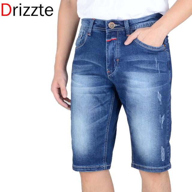 Drizzte бренда мужской легкая стрейч джинсовые шорты синий короткие Большой размер ...