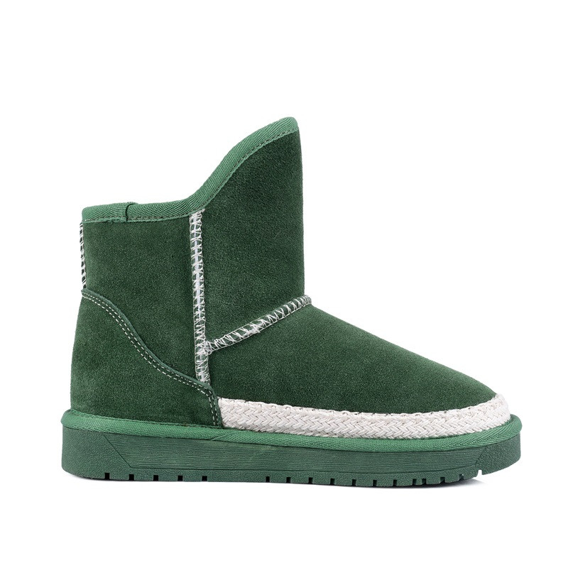 Natural leather 2016 latest thermal comfort Plush snow boots Short tube Cattle suede Flat woman large size Hot new products