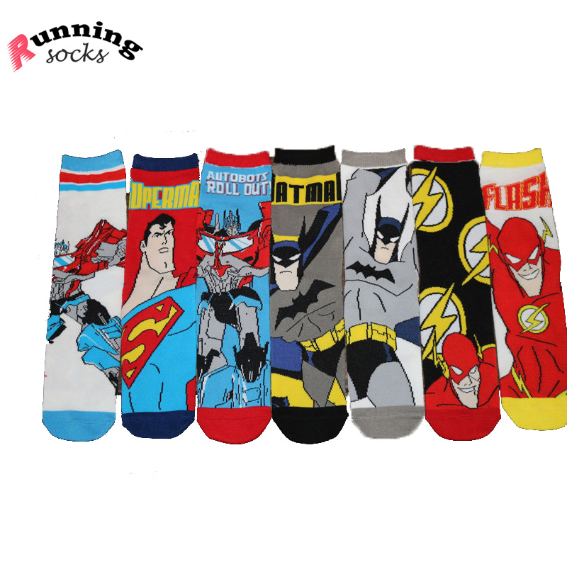 High quality skate board hip-pop fashion brand socks middle tube sock superman batman style 100% cotton socks menKT022(China (Mainland))