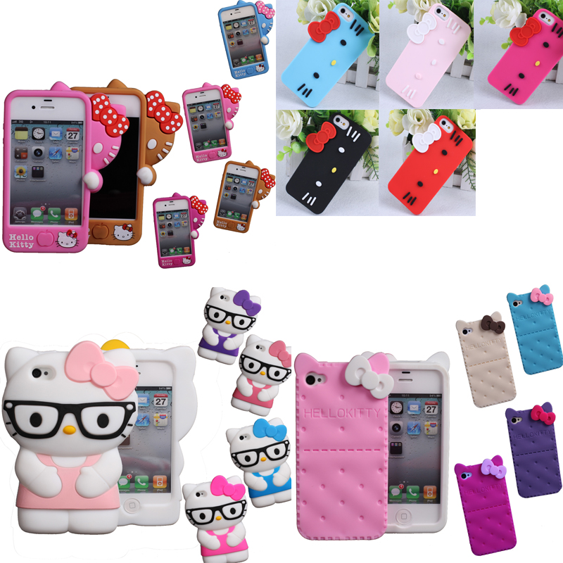 NEW 2016 fashion 3D Soft Silicon hello kitty Case For iPhone 4 4S 5 5S SE super protecting cute Bowknot Hello kitty rubber cover(China (Mainland))