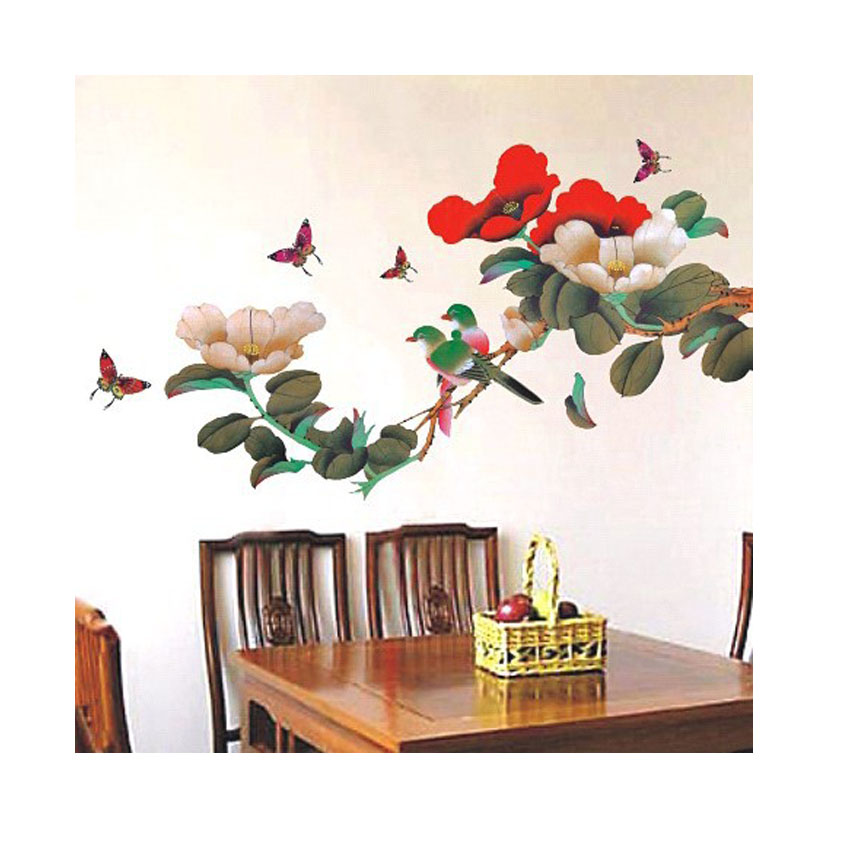 Magpie and flower muursticker pvc pegatinas de pared for Floral decorations for home
