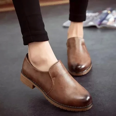 Lyrate preppy style shoes leather lacing women's shoes single shoes fashion vintage round toe martin shoes casual shoes