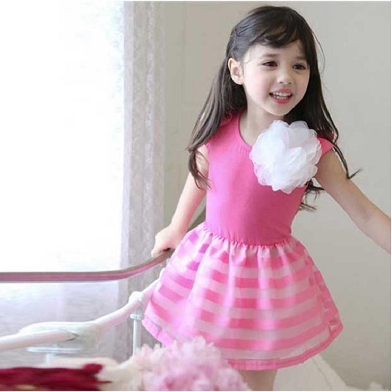 2015 Kid Baby Girl Princess Ruffle Flower Stripe Tulle Dress Party Tutu Dress Summer # 72170(China (Mainland))