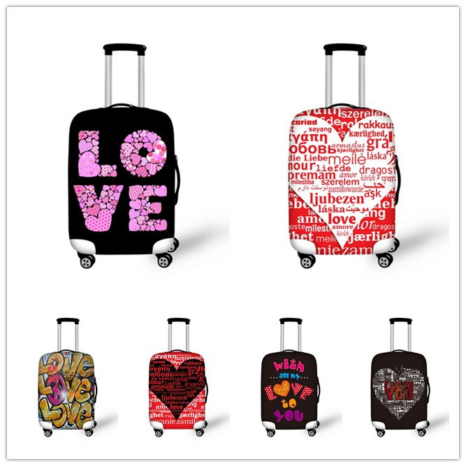 Love Printing Elastic Waterproof Luggage Protective Cover For 18-30 Inch Travel Luggage Stretchable Protector Suitcase Cover(China (Mainland))