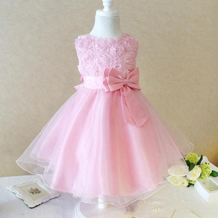 New 2015 summer toddler teeange girls princess rose flower for Baby pink wedding dress